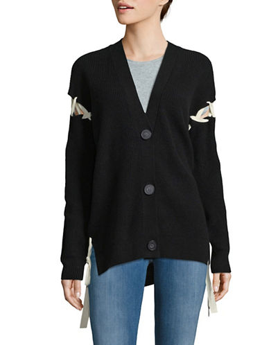 Mo & Co Lace-Up Buttoned Wool Cardigan-BLACK-X-Small
