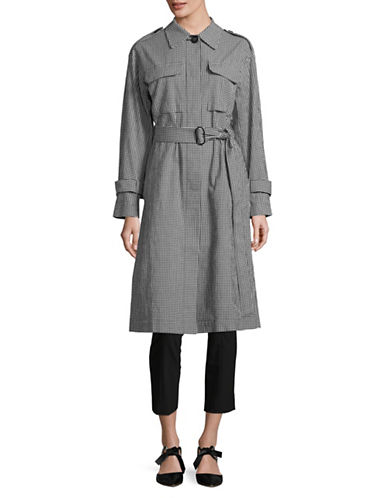 Mo & Co Plaid Trench Coat-BLACK-Large