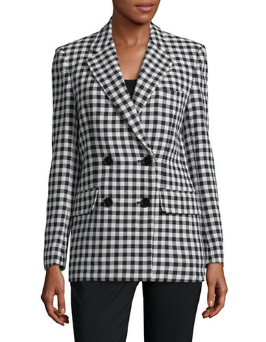 Mo & Co Plaid Cotton Blazer-BLACK-X-Small