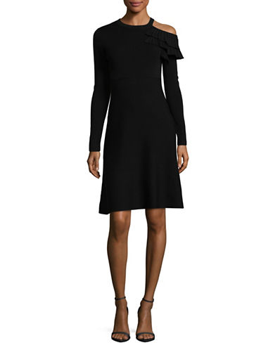 Mo & Co Ruffled Sweater Dress-BLACK-Large