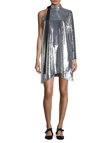 Mo & Co Sequin One-Shoulder Dress-SILVER-Medium