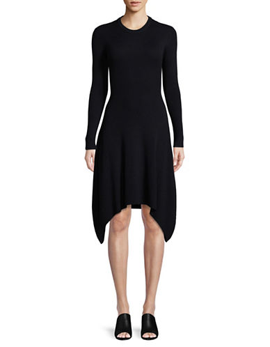 Mo & Co Wool-Blend Sweater Dress-NAVY-Small