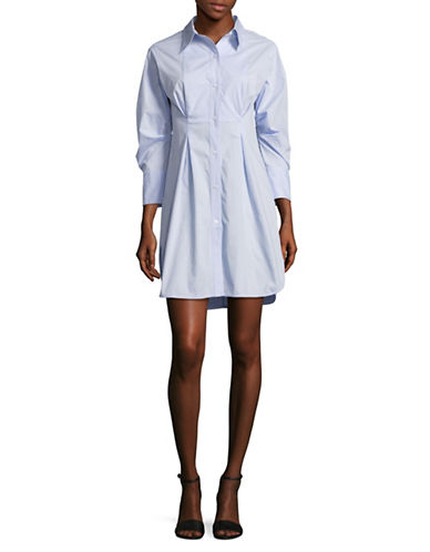 Mo & Co Pleated Hi-Lo Shirtdress-SKY BLUE-Medium
