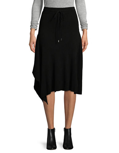 Mo & Co Ribbed Asymmetric Skirt-BLACK-Medium