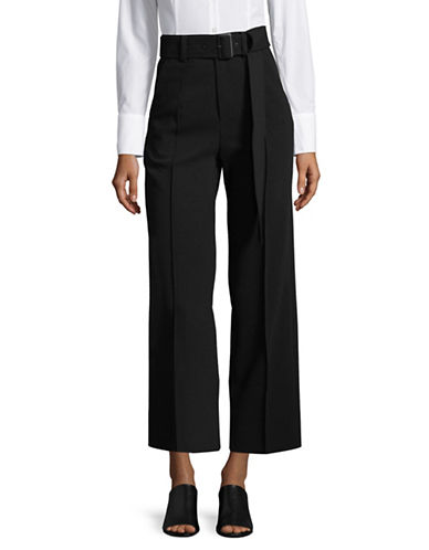 Mo & Co Belted Wide-Leg Pants-BLACK-Medium