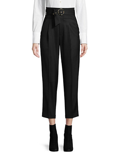 Mo & Co High-Waist Wool-Blend Pants-BLACK-Medium 89838363_BLACK_Medium