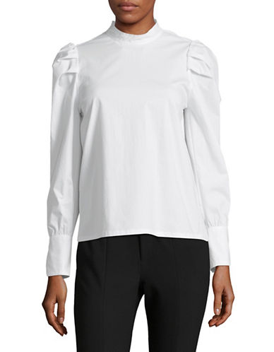 Mo & Co Ruched Shoulder Top-SNOW WHITE-X-Small