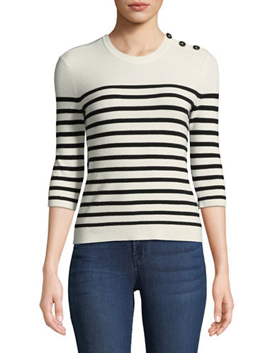 Mo & Co Ribbed Stripe Sweater-GARDENIA-Large