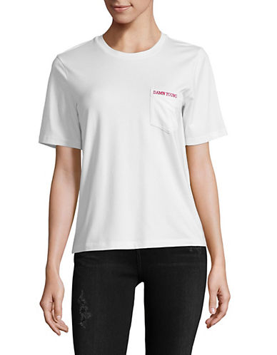 Mo & Co Embroidered Pocket Tee-WHITE-Large 89962278_WHITE_Large