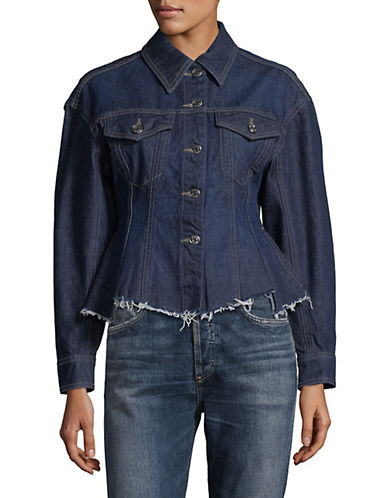 Mo & Co Raw-Edge Denim Jacket-BLUE-Large 89962182_BLUE_Large
