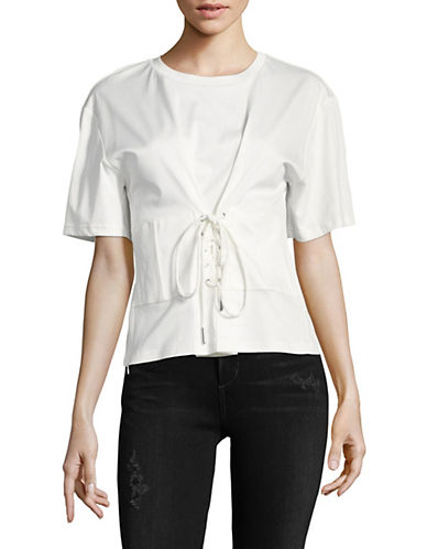 Mo & Co Lace Up Front Tee-WHITE-X-Large 89962284_WHITE_X-Large
