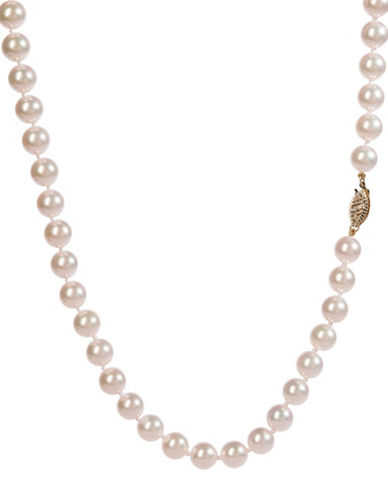 Fine Jewellery White Akoya Cultured Pearl & 14K Yellow Gold 16-Inch Single Strand Necklace-WHITE-One Size