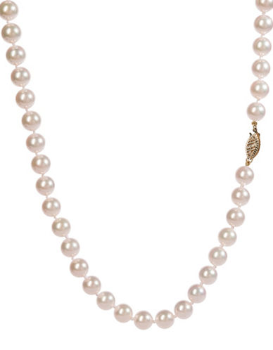 Fine Jewellery White Akoya Cultured Pearl & 14K Yellow Gold 20-inch Single Strand Necklace-WHITE-One Size
