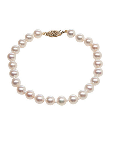 Miscellaneous 6.5-7MM Akoya Cultured Pearl & 14K Yellow Gold Bracelet-WHITE-One Size