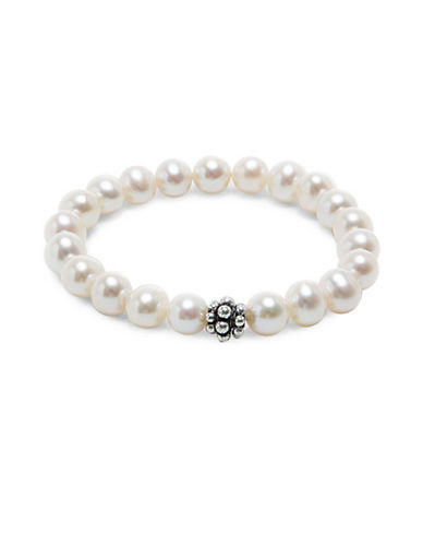 Miscellaneous 9-10MM Freshwater Cultured Pearl & Sterling Silver Bracelet-WHITE-One Size