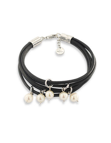 Miscellaneous 7-8MM Freshwater Cultured Pearl Sterling Silver Five-Row Bracelet-BLACK-One Size