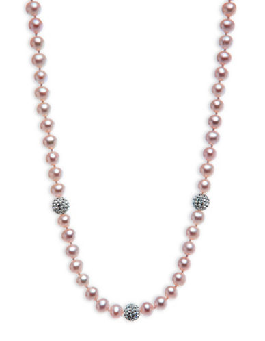 Miscellaneous 6MM-7MM Round Freshwater Cultured Pearl and Sterling Silver Necklace-PINK-One Size