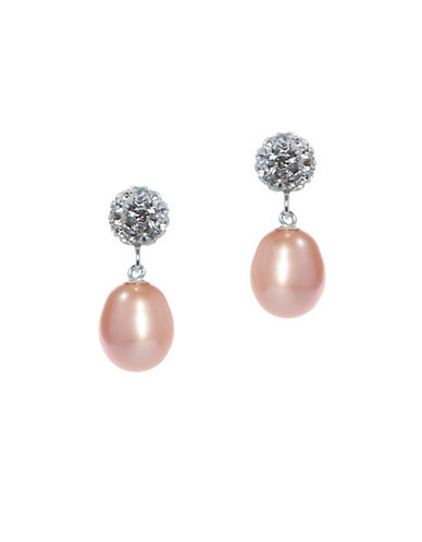 Miscellaneous 7MM-8MM Freshwater Cultured Pearl and Sterling Silver Earrings-PINK-One Size