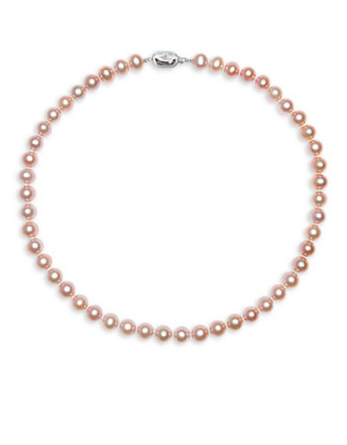 Miscellaneous 9.5MM-10.5 MM Round Freshwater Cultured Pearl and Sterling Silver Necklace-PINK-One Size