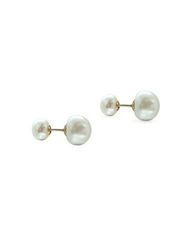 Miscellaneous 6MM-7MM/ 9MM-10MM White Freshwater Cultured Pearl and Yellow Gold Double Sided Stud Earrings-WHITE-One Size