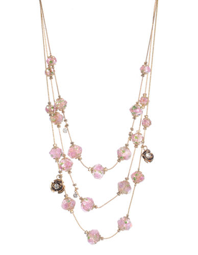 Betsey Johnson Flower Bead Illusion Necklace-MULTI COLOURED-One Size
