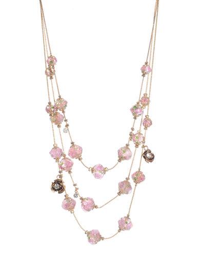 Betsey Johnson Flower Bead Illusion Necklace-MULTI COLOURED-One Size
