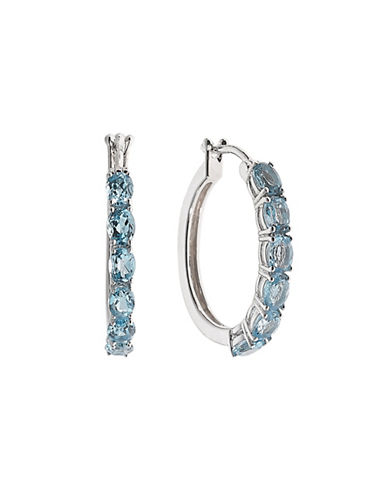 Fine Jewellery Topaz and Sterling Silver Hoop Earrings-BLUE TOPAZ-One Size