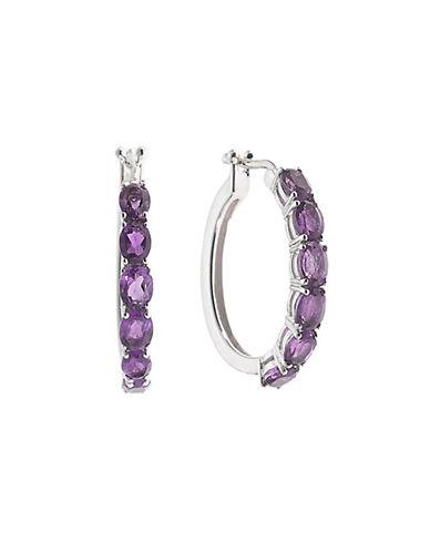Fine Jewellery Amethyst and Sterling Silver Hoop Earrings-AMETHYST-One Size