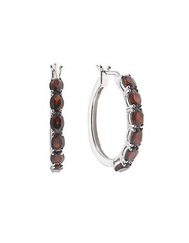Fine Jewellery Garnet and Sterling Silver Hoop Earrings-GARNET-One Size