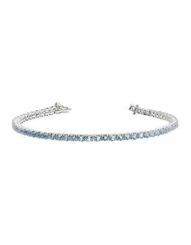 Fine Jewellery Topaz and Sterling Silver Tennis Bracelet-BLUE TOPAZ-One Size