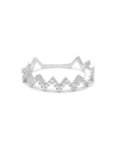 Fine Jewellery 14K White Gold Zig Zag Pave Ring with 0.14 TCW Diamonds-DIAMOND-7