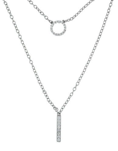 Fine Jewellery Limoges Pave Double Pendant Necklace with 0.13 TCW Diamonds-DIAMOND-One Size