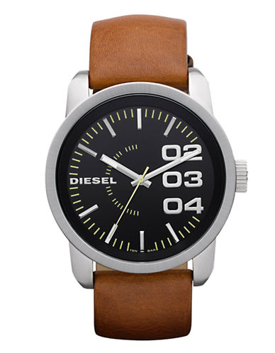 Diesel Men's Leather Watch-BROWN-One Size