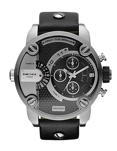 Diesel Mens 51mm Multi-Movement Stainless Steel With Black Leather Strap Watch-BLACK-One Size