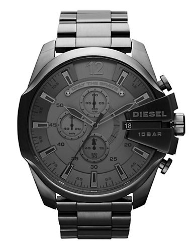 Diesel Mens Black Mega Chief Watch-BLACK-One Size