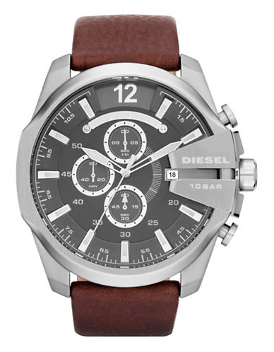 Diesel Diesel Brown Leather and Stainless Steel Watch-BROWN-One Size