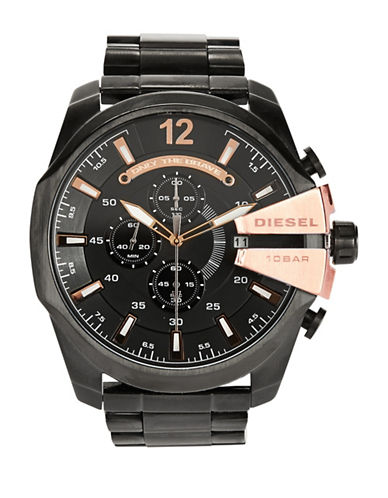 Diesel Mens Black and Rose Gold Watch-BLACK-One Size