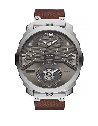 Diesel Machinus Stainless Steel Leather Watch-BROWN-One Size