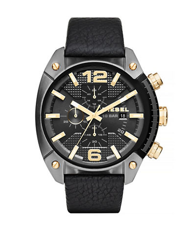 Diesel Overflow Stainless Steel Leather Chronograph Watch-BLACK-One Size