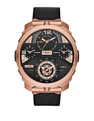 Diesel Chronograph Machinus Leather Strap Rose-Goldtone Stainless Steel Watch-BLACK-One Size