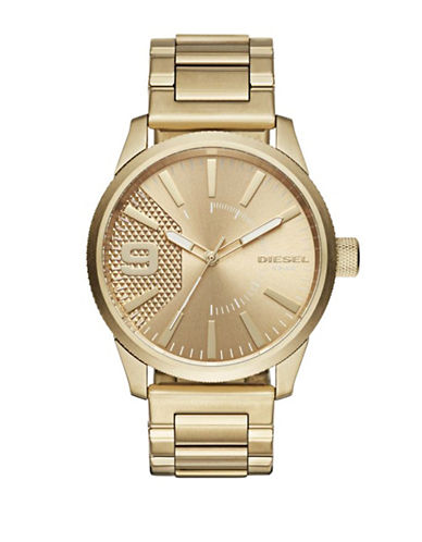 Diesel Analog Goldtone Textured Watch-GOLD-One Size