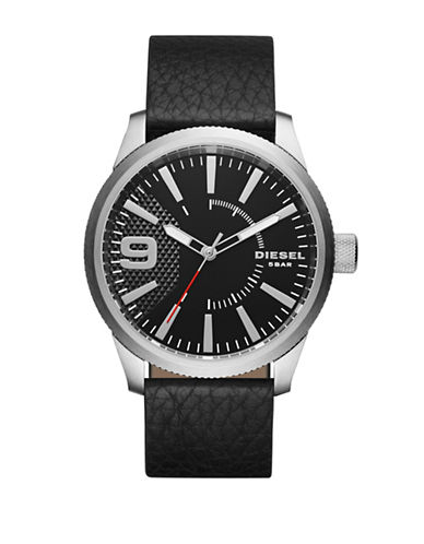 Diesel Analog Blacktone Textured Leather Strap Watch-BLACK-One Size
