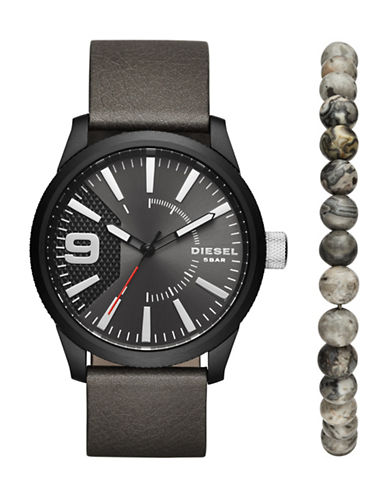 Diesel Gunmetal-Tone Leather Strap Watch Set with Beaded Bracelet-GREY-One Size