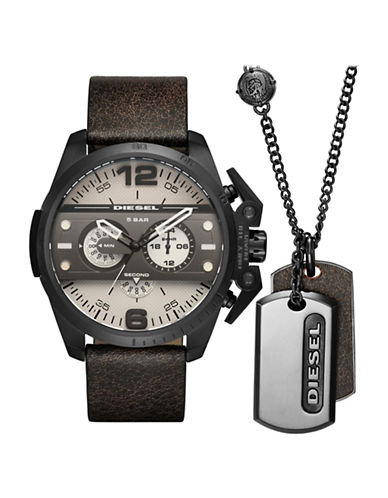 Diesel Black Leather Strap Watch Gift Set with Dog Tag Necklace-BROWN-One Size