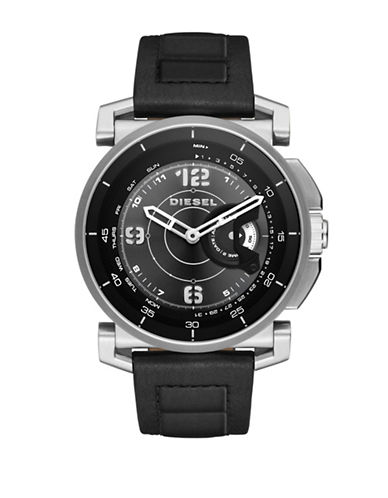 Diesel Hybrid - Stainless Steel Leather Strap Watch-BLACK-One Size