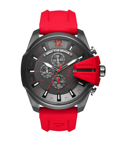 Diesel Chronograph WHIPLASH ADVANCED Silicone Strap Watch-RED-One Size