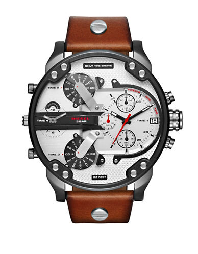 Diesel Multi-Movement the Daddy Series SBA Collection Brown Leather Strap Watch-BROWN-One Size