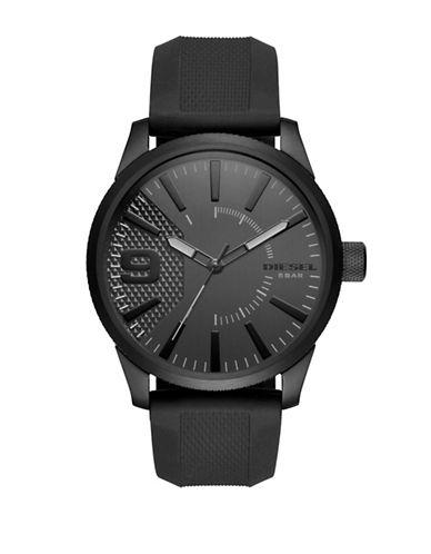 Diesel Analog RASP NSBB Black IP Silicone Strap Watch-BLACK-One Size