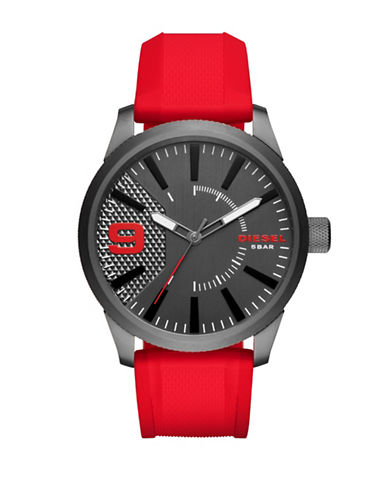 Diesel Analog RASP NSBB Stainless Steel Leather Strap Watch-RED-One Size
