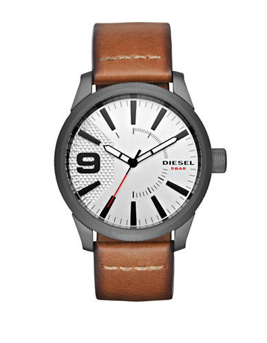 Diesel Analog RASP NSBB Brushed Stainless Steel Leather Strap Watch-BROWN-One Size